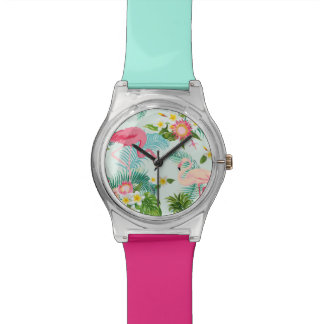 Vintage Tropical Flowers And Birds Wristwatches