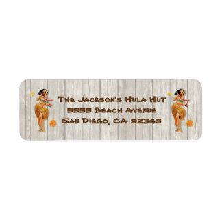 Vintage tropical Hawaiian Hula Girl Return Address Label