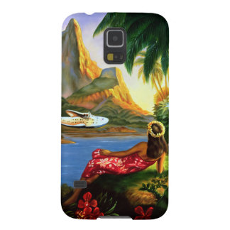 Vintage Tropical Hawaiian Sea Plane Palm Tree Galaxy S5 Cases