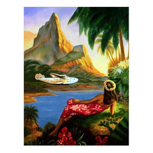 Vintage Tropical Hawaiian Sea Plane Palm Tree Post Cards