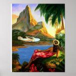 Vintage Tropical Hawaiian Sea Plane Palm Tree Print