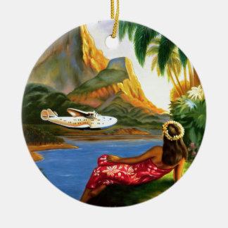 Vintage Tropical Hawaiian Sea Plane Palm Tree Round Ceramic Decoration