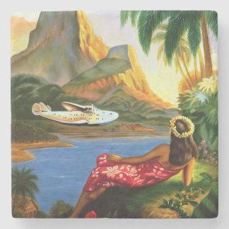 Vintage Tropical Hawaiian Sea Plane Palm Tree Stone Beverage Coaster
