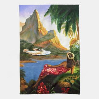 Vintage Tropical Hawaiian Sea Plane Palm Tree Tea Towel