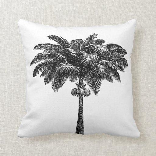 Vintage Tropical Island Palm TreeTemplate Blank Throw Pillow