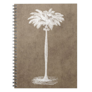 Vintage Tropical Island Palm Tree Template Blank Notebook