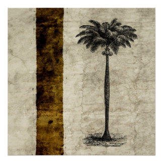 Vintage Tropical Island Palm TreeTemplate Blank Poster