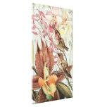 Vintage Tropical Orchids, Flowers and Hummingbirds Gallery Wrapped Canvas