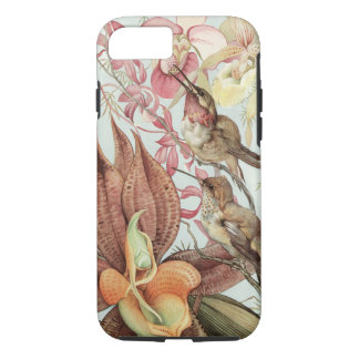 Vintage Tropical Orchids, Flowers and Hummingbirds iPhone 8/7 Case