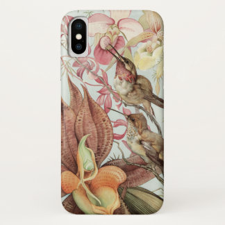 Vintage Tropical Orchids, Flowers and Hummingbirds iPhone X Case