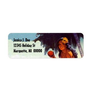 Vintage Tropical Palm Island Girl Address Labels