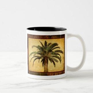 Vintage Tropical Palm Tree Two-Tone Coffee Mug
