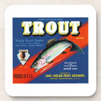 Vintage Trout Brand Apple Label Drink Coaster