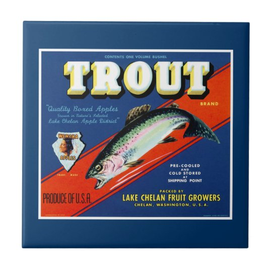 Vintage Trout Brand Apple Label Small Square Tile