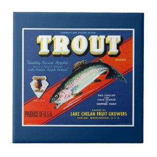 Vintage Trout Brand Apple Label Small Square Tile