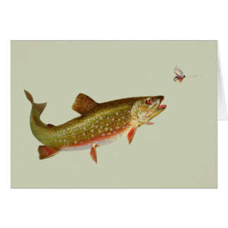 Vintage trout greeting card