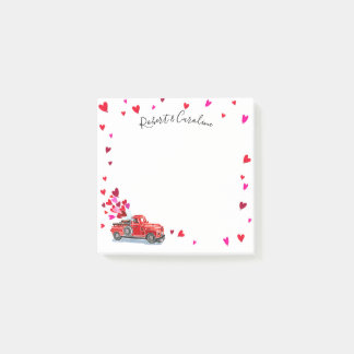 Vintage Truck Hearts Add Names 3x3 Post-it Notes