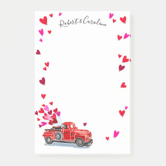 Vintage Truck Hearts Add Names 4x6 Post-it Notes