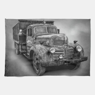 VINTAGE TRUCK IN BLACK AND WHITE TEA TOWEL