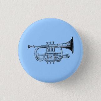 Vintage Trumpet Wood Engraving 3 Cm Round Badge