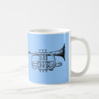 Vintage Trumpet Wood Engraving Coffee Mug