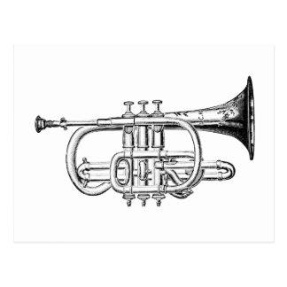 Vintage Trumpet Wood Engraving Postcard