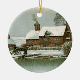 Vintage Tudor Country Cottage Christmas Ornament