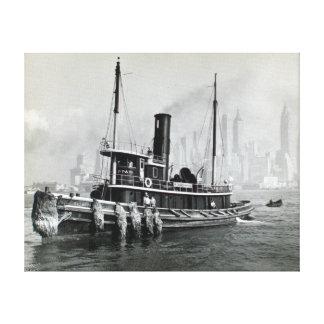 Vintage Tugboat Water Front Brooklyn Manhattan Canvas Print