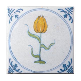 Vintage Tulip Delft Yellow Art Trivet Small Square Tile