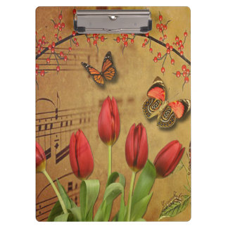 Vintage Tulip Flowers Music Notes With Butterflies Clipboards