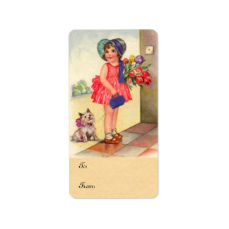 Vintage Tulip Girl Gift Labels
