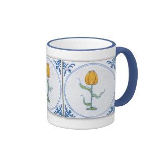 Vintage Tulip Tile Art Blue White Coffee Mug