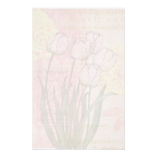 Vintage Tulips on Floral Background Customised Stationery