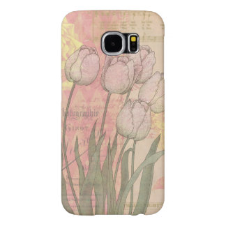 Vintage Tulips on Floral Background Samsung Galaxy S6 Cases
