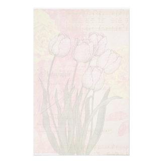 Vintage Tulips on Floral Background Stationery