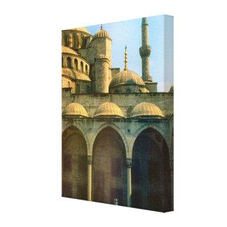 Vintage Turkey Istanbul Mosque and minaret Canvas Print