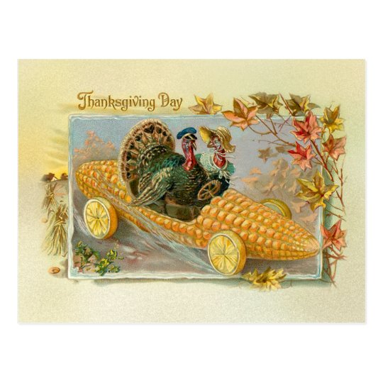 Vintage Turkeys in Corn Cob Car Postcard