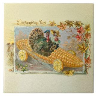 Vintage Turkeys in Corn Cob Car Tile