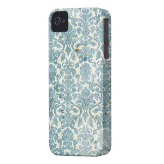 Vintage Turquoise Blue Damask Grunge iPhone 4 Case