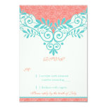 Vintage Turquoise Coral Lace Wedding RSVP Reply