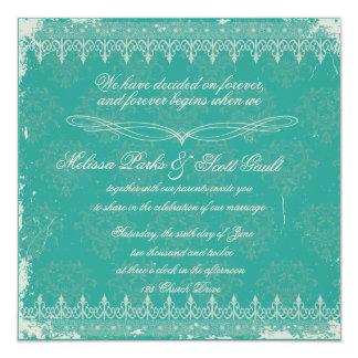 Vintage turquoise damask wedding invitation