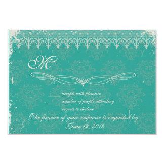 Vintage turquoise damask wedding RSVP 9 Cm X 13 Cm Invitation Card