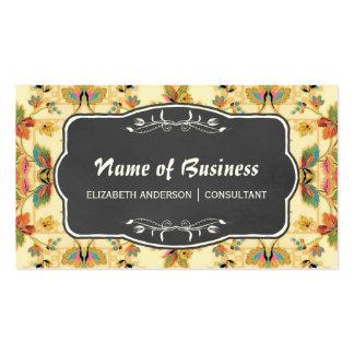 Vintage Turquoise Orange Floral and Chalkboard Pack Of Standard Business Cards
