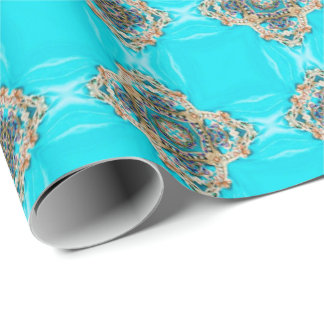 vintage turquoise pattern bohemian wedding favor wrapping paper