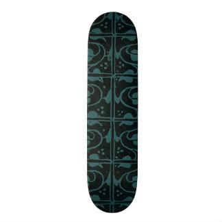 Vintage Turquoise Teal Black Leaf and Vines Skateboard