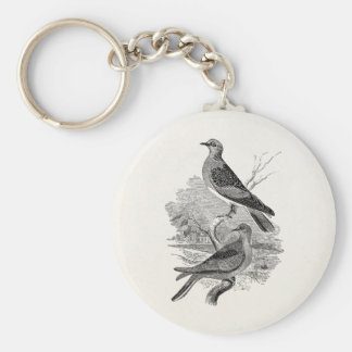 Vintage Turtle Doves Bird Personalized Dove Birds Key Ring
