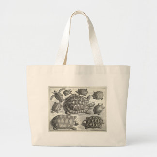 Vintage Turtle Etching Large Tote Bag