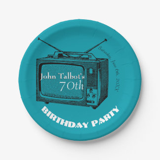 Vintage TV 70th Birthday Party Paper Plate 7 Inch Paper Plate