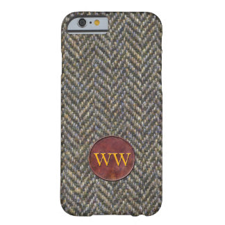 Vintage Tweed and Leather Monogram Barely There iPhone 6 Case