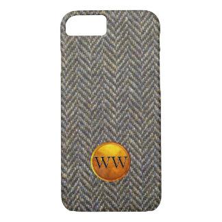 Vintage Tweed Brass and Gold Embossed Monogram iPhone 7 Case